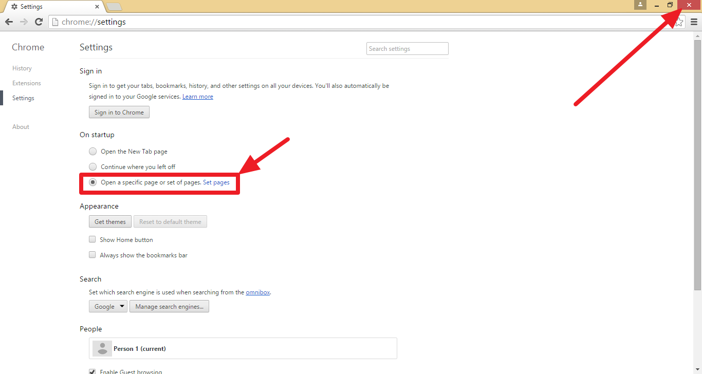 Google theme reset - Confirm Settings And Close Your Browser