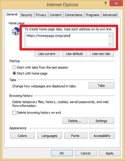 Homepage Ninja How To Change Your Internet Explorer Default Homepage