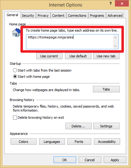 Homepage ninja how to change your internet explorer for Windows home page