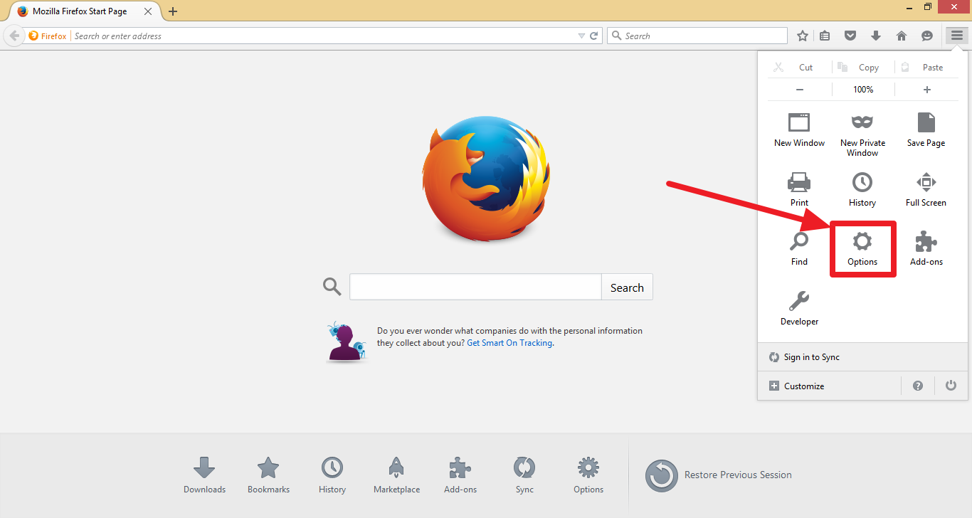 about firefox options
