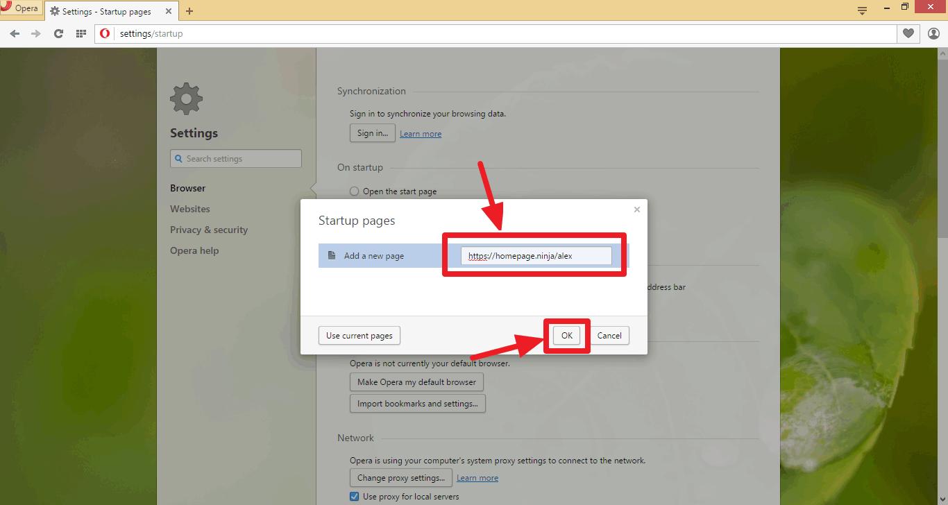 Homepage Ninja - How To Use a Custom Homepage with the Opera
