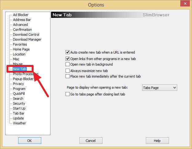 New Tab Options